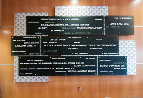 image of a donor wall created by Sentry Arts.